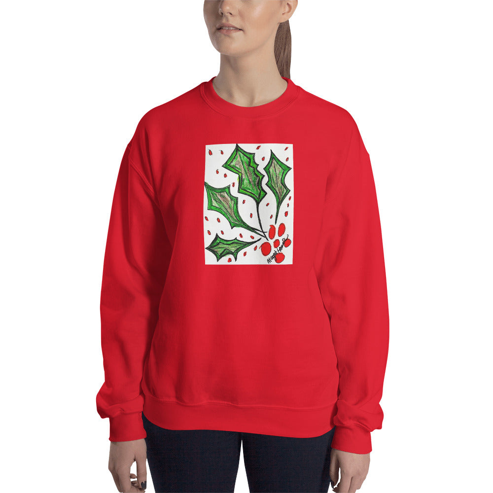 Christmas Holly Sweatshirt /Artist- Margot House