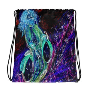 "neon ""Jesus Christ on a Bicycle"" Drawstring bag / Artist - Margot House & Bryan Ameigh"