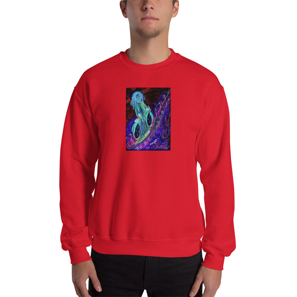 "neon ""Jesus Christ on a Bicycle"" Sweatshirt / Artist - Margot House"