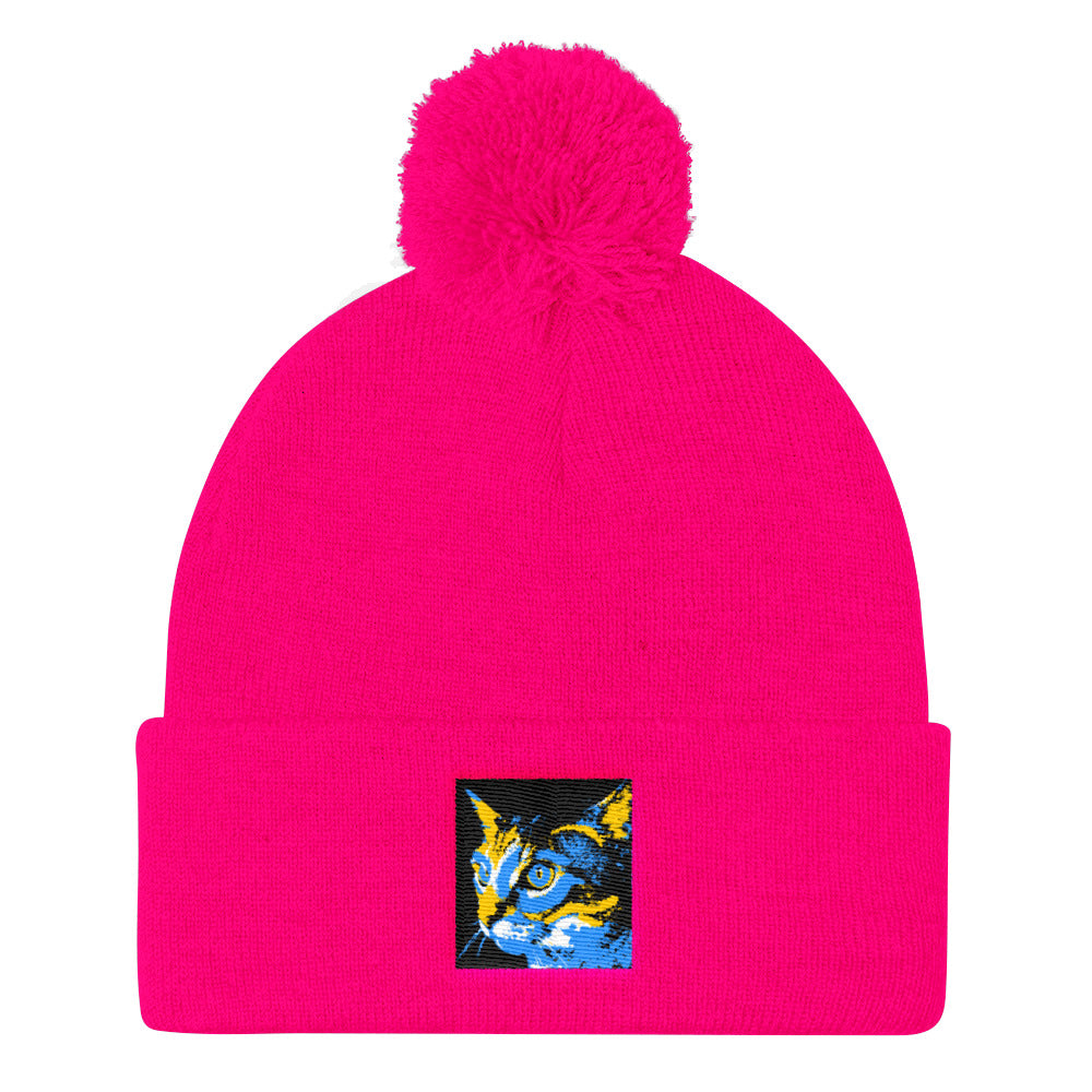 Kitty Kitty Pom Pom Knit Cap / Artist - BryanAmeigh