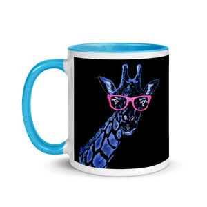 """Blue Giraffe"" Mug with Color Inside"
