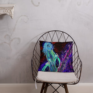 "neon ""Jesus Christ on a Bicycle"" Pillow / Artist - Margot House & Bryan Ameigh"