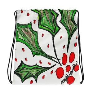 Christmas Holly Drawstring bag  / Artist - Margot House