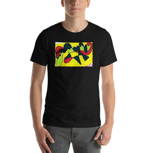 "Short-Sleeve Unisex T-Shirt / ""motion of color"" artist- Margot House 2007"