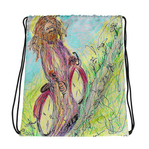 "Artist Edition ""Jesus on a Bicycle"" Drawstring bag / Artist - Margot House"