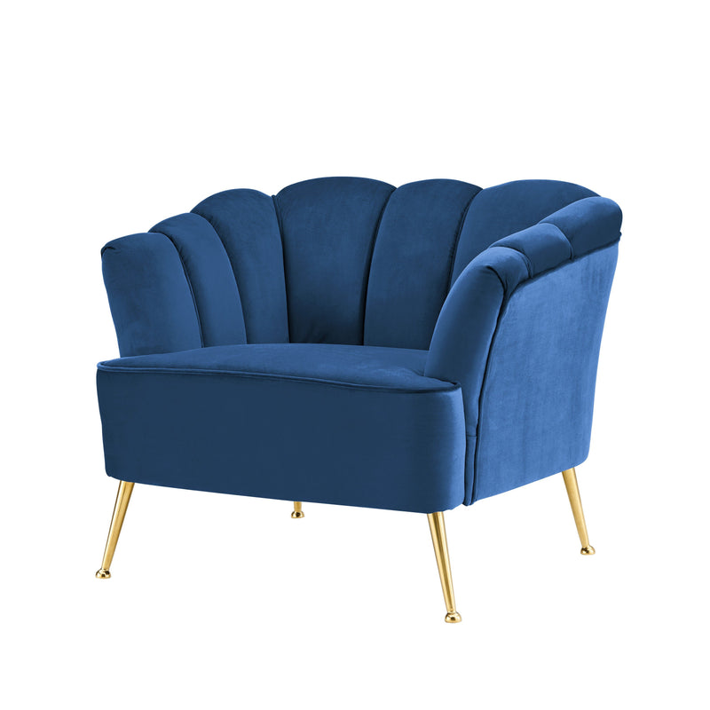 Iconic Home Alicia Club Chair Velvet Upholstered Vertical Channel Tufted Gold Tone Metal Legs - Chic Home Design