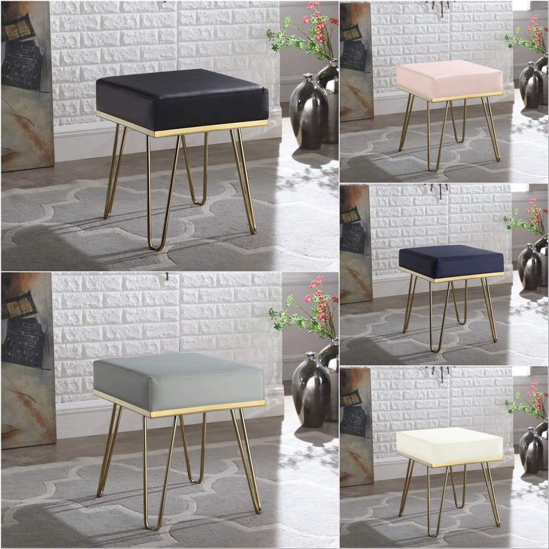 Iconic Home Catania Square Ottoman PU Leather Brass Finished Solid Metal Frame Hairpin Legs - Chic Home Design