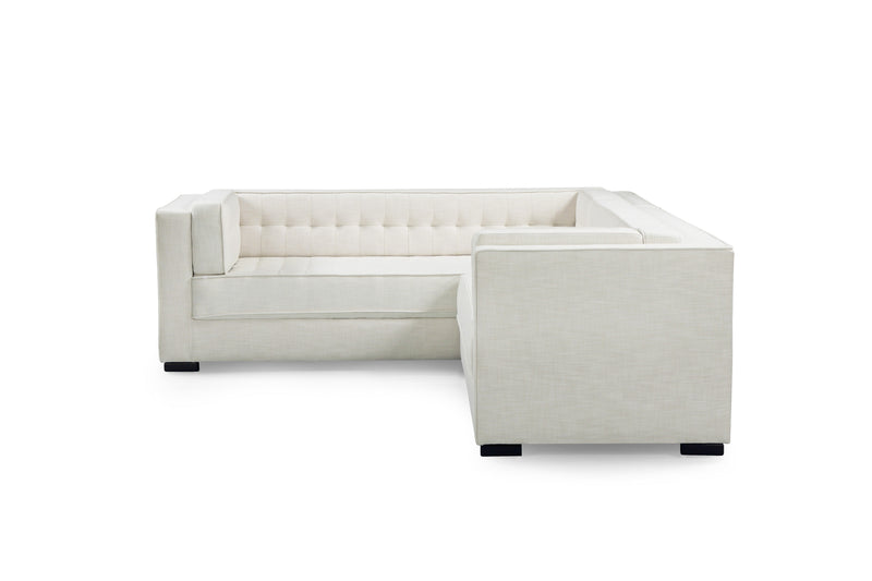 Iconic Home Lorenzo Left Facing Linen Sectional Sofa L Shape Tufted Shelter Arm Wood Legs - Chic Home Design