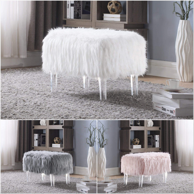 Iconic Home Fiorino Faux Fur Ottoman Acrylic Legs Bench