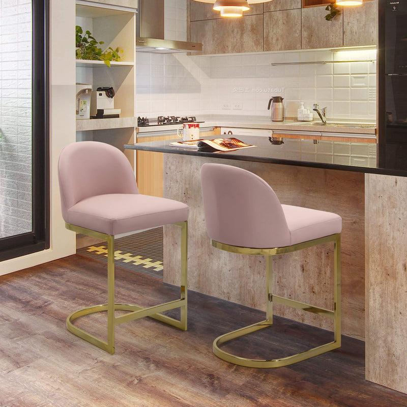 Enjoyable Iconic Home Xander Counter Stool Pu Leather Goldtone Metal Andrewgaddart Wooden Chair Designs For Living Room Andrewgaddartcom