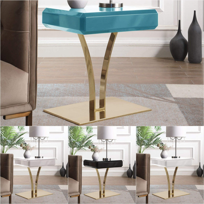 Iconic Home Rochelle Side Table Nightstand Gold Plated Solid Metal Stem Base Self Close Drawer - Chic Home Design