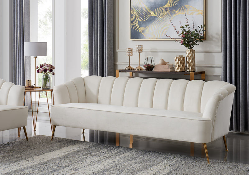 Iconic Home Alicia Sofa Velvet Upholstered Channel Tufted Single Bench Cushion Gold Metal Legs - Chic Home Design
