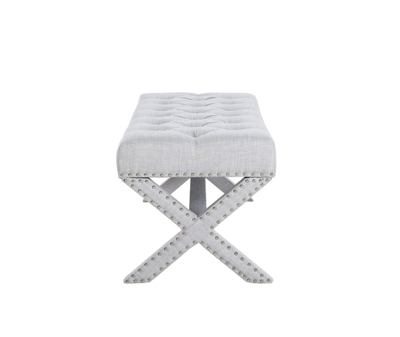 Iconic Home Dalit X Frame Nailhead Trim Linen Tufted Ottoman Bench - Chic Home Design