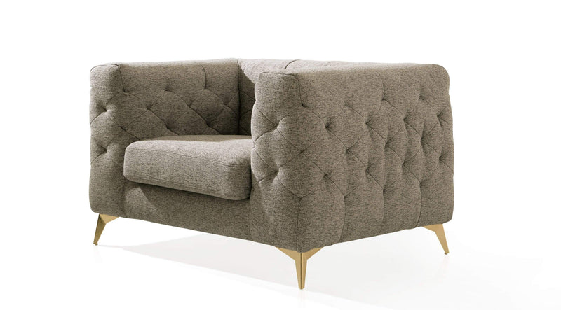 Iconic Home Soho Club Chair Linen Textured Upholstery Tufted Shelter Arm Gold Metal Legs - Chic Home Design