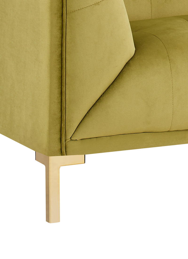 Iconic Home Azalea Club Chair Velvet Upholstered Shelter Arm Design Gold Tone Metal Y-Legs - Chic Home Design