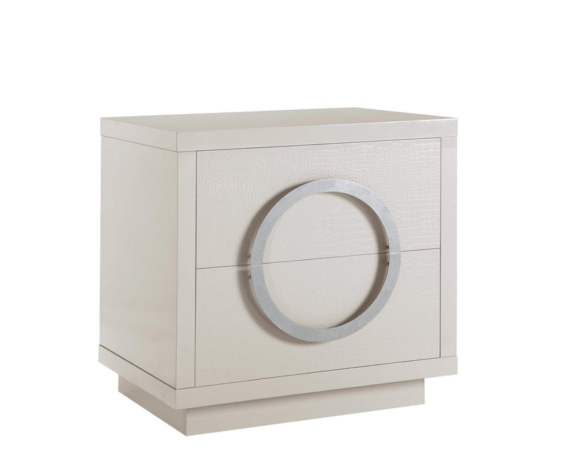 Iconic Home Sorrento Side Table Nightstand Crocodile Lacquer Finish 2 Self Closing Drawers - Chic Home Design