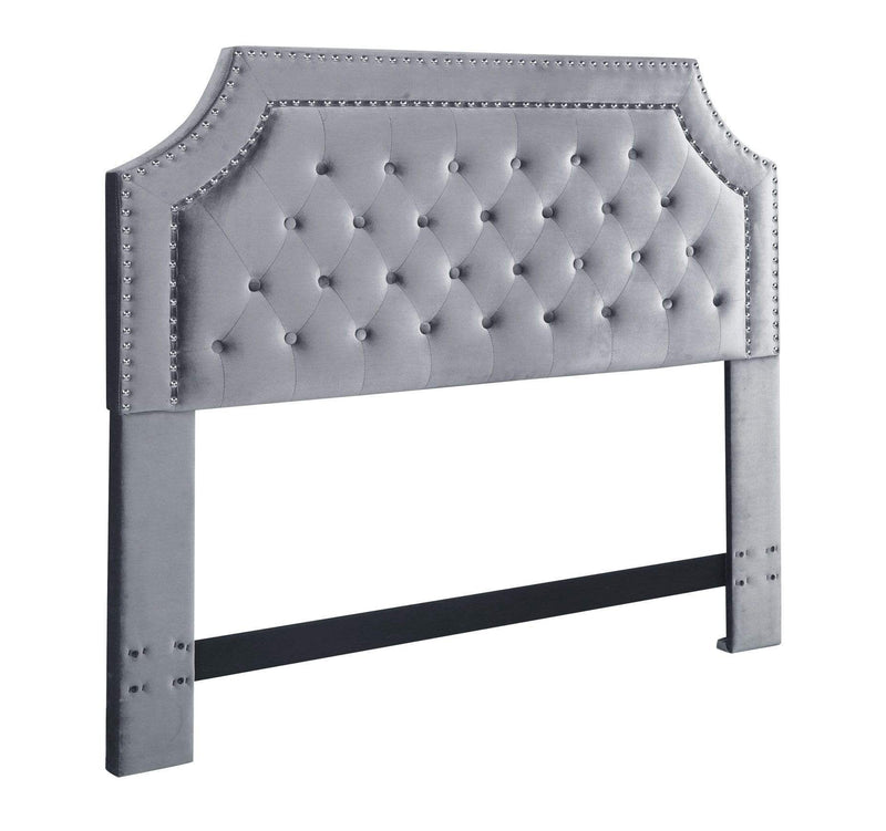 Iconic Home Chava Headboard Button Tufted Velvet Upholstered Double Row Nailhead Trim - Chic Home Design