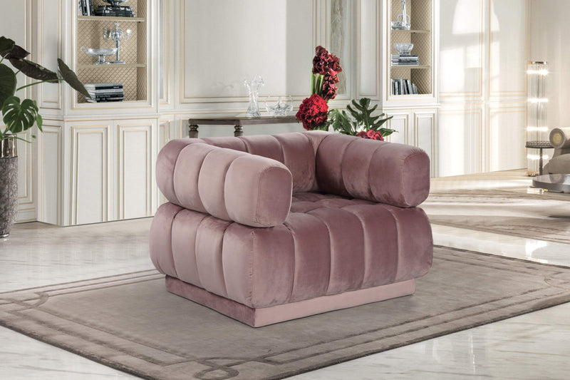 Iconic Home Quebec Club Chair Velvet Upholstered Channel-Quilted Tufted Shelter Arm Design - Chic Home Design