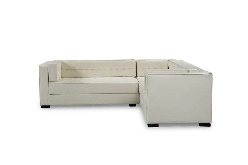 Iconic Home Lorenzo Left Facing PU Leather Sectional Sofa L Shape Shelter Arm Wood Legs - Chic Home Design