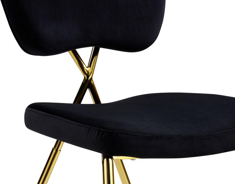Iconic Home Chrissy Dining Chair Velvet Upholstered Half Back Solid Gold Metal Legs Set of 2 - Chic Home Design