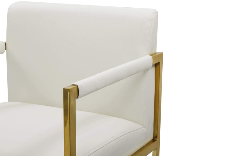 Iconic Home Quest Counter Stool Chair PU Leather Square Arm Design Goldtone Solid Metal Base - Chic Home Design