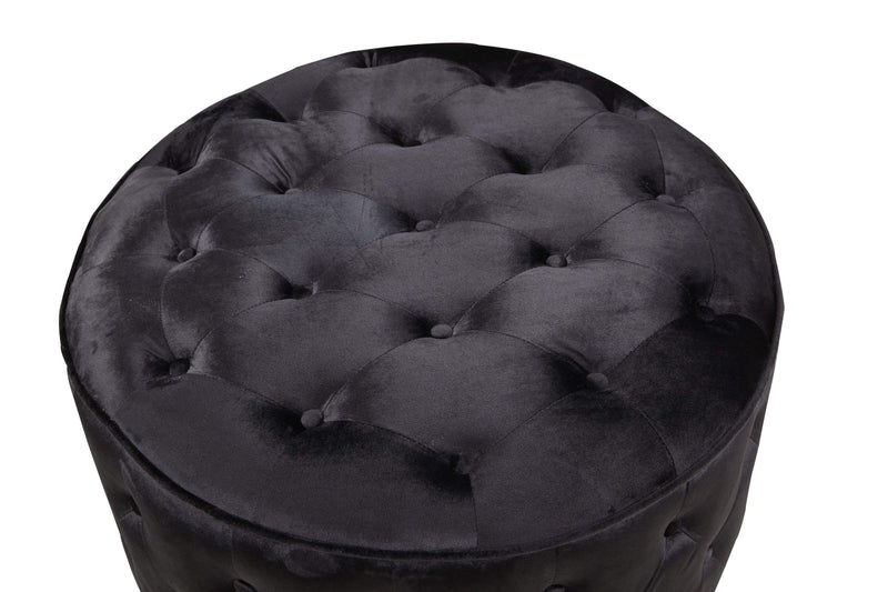Iconic Home Batya Ottoman Button Tufted Velvet Upholstered Round Pouf - Chic Home Design