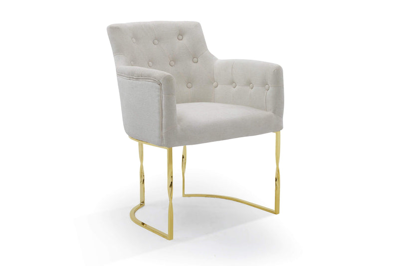 Iconic Home Amalfi Accent Chair Button Tufted Linen Upholstered Gold Tone Solid Metal Frame - Chic Home Design