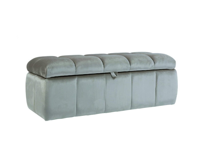 Iconic Home Chagit Storage Ottoman Sleek Tufted Velvet Upholstered Bench - Chic Home Design