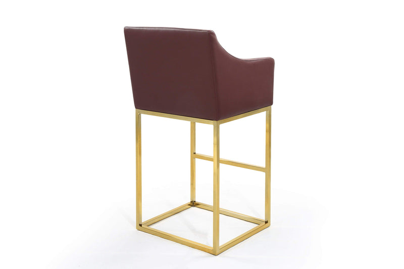 Iconic Home Bluebell Bar Stool Chair PU Leather Slope Arm Goldtone Solid Metal Base - Chic Home Design