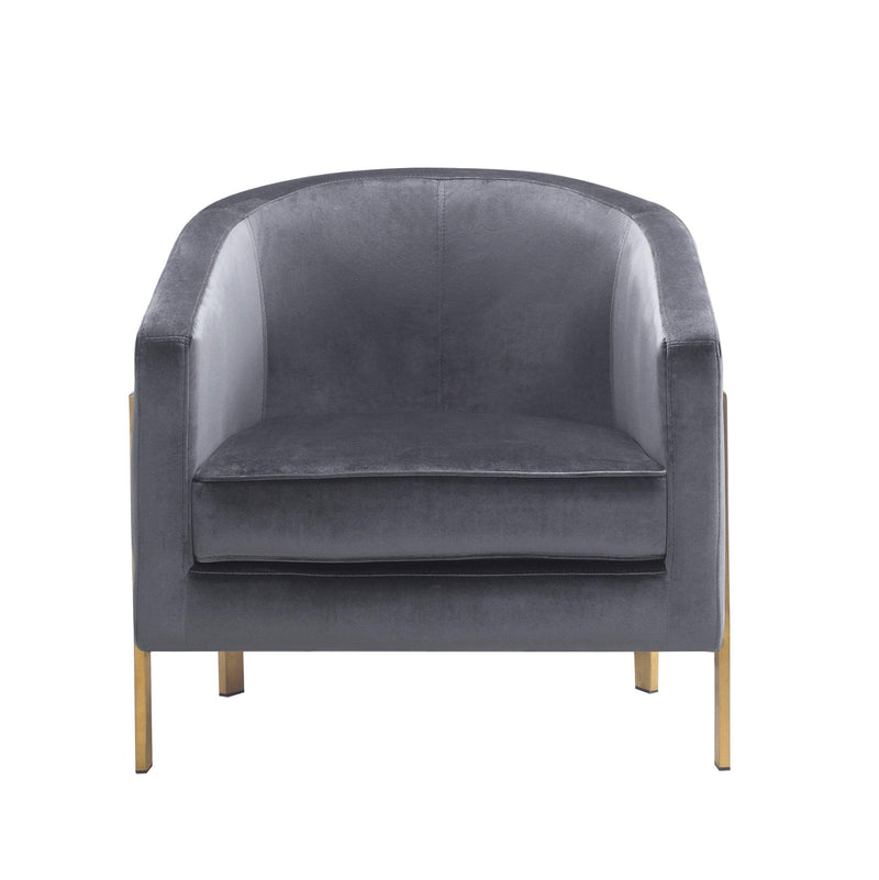 Iconic Home Monte Accent Club Chair Velvet Cushion Seat Brushed Brass Stainless Steel Frame - Chic Home Design