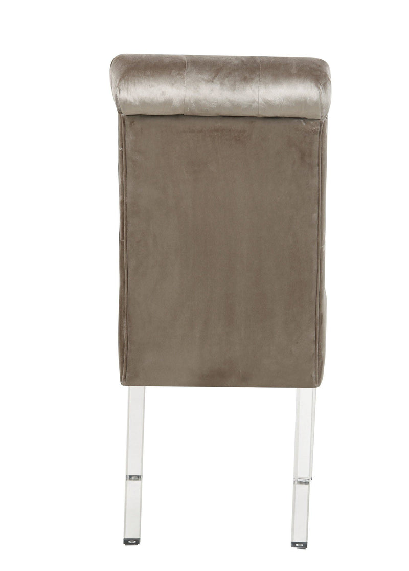 Iconic Home Sharon Dining Side Chair Button Tufted Velvet Upholstered Acrylic Legs (Set of 2) - Chic Home Design