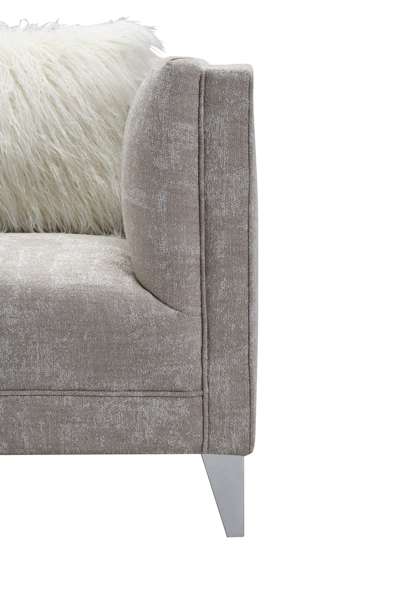 Iconic Home Montmarte Accent Chair Textured Fabric Channel Quilted Silvertone Metal Legs - Chic Home Design