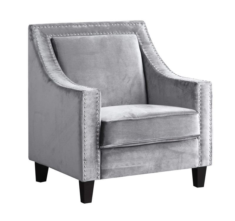 Iconic Home Camren Accent Chair Velvet Upholstered Nailhead Trim Tapered Espresso Wood Legs - Chic Home Design