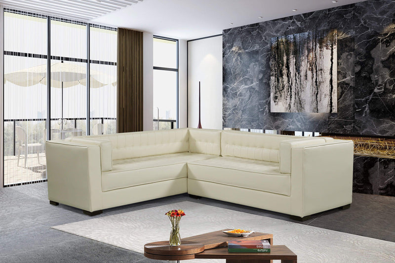 Iconic Home Lorenzo Right Facing PU Leather Sectional Sofa L Shape Shelter Arm Wood Legs - Chic Home Design