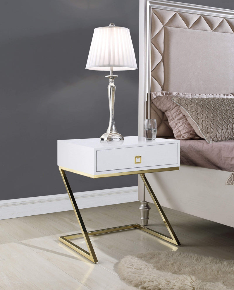 "Iconic Home Cordoba Nightstand Side Table Self Closing Drawer Brass Finished Metal ""Z"" Frame - Chic Home Design"