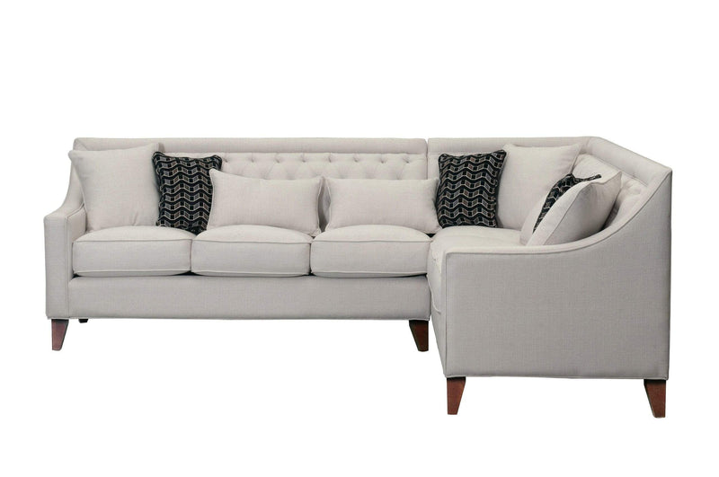 Iconic Home Aberdeen Tufted Right Facing Linen Sectional Sofa - Chic Home Design