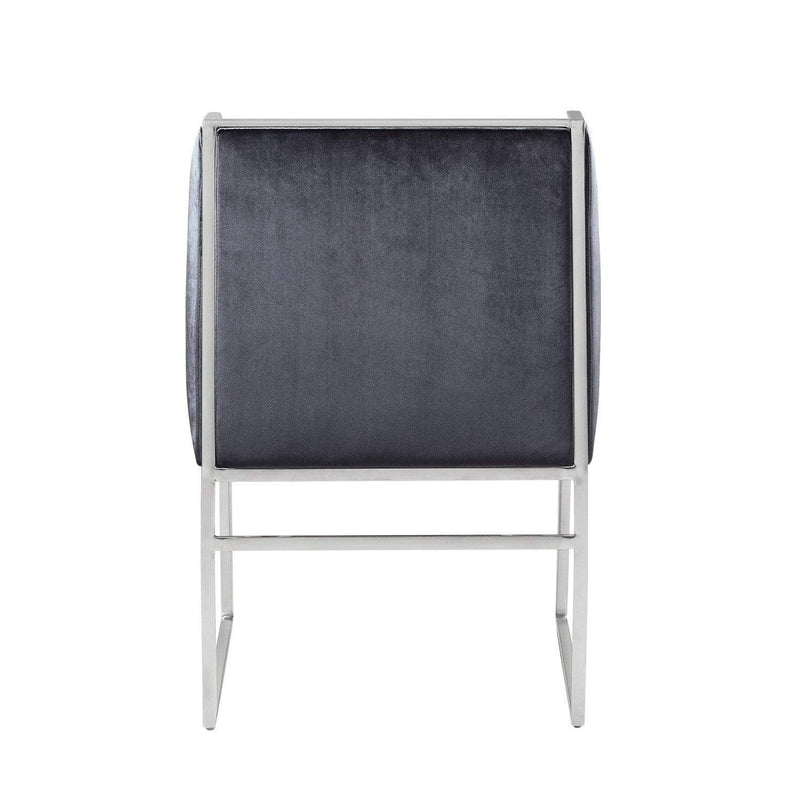 Iconic Home Rowan Accent Club Chair Velvet Upholstered Brass Finished Stainless Steel Frame - Chic Home Design