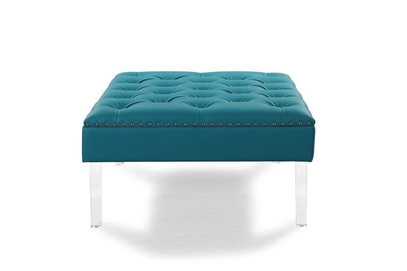 Iconic Home Pierre Square Ottoman Center Table Tufted PU Leather Upholstered Acrylic Legs - Chic Home Design