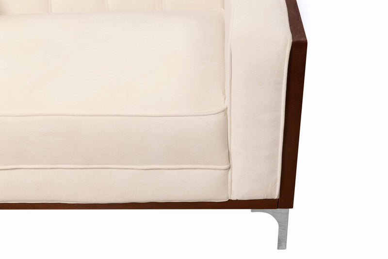 Iconic Home Clark Sofa Button Tufted Velvet Walnut Finish Swoop Arm Wood Frame Metal Y Legs - Chic Home Design