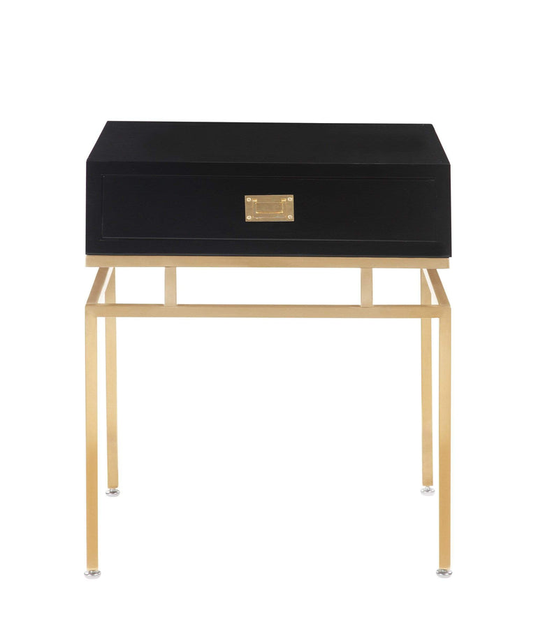 Iconic Home Genoa Side Table Nightstand Brass Base Solid Frame Self Close Drawer - Chic Home Design