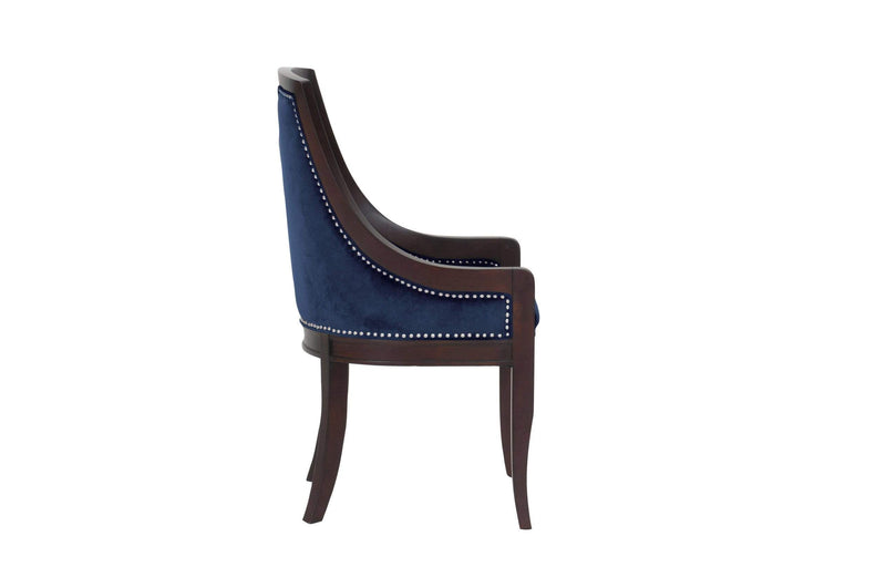 Iconic Home Owen Dining Side Chair Velvet Upholstered Nailhead Trim Wood Frame (Set of 1) - Chic Home Design