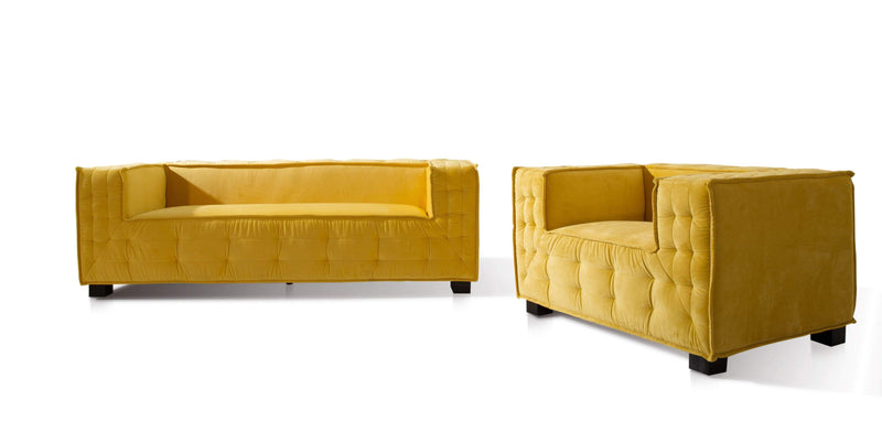 Iconic Home Bryant Sofa Velvet Upholstered Tufted Shelter Arm Espresso Finished Wooden Legs - Chic Home Design