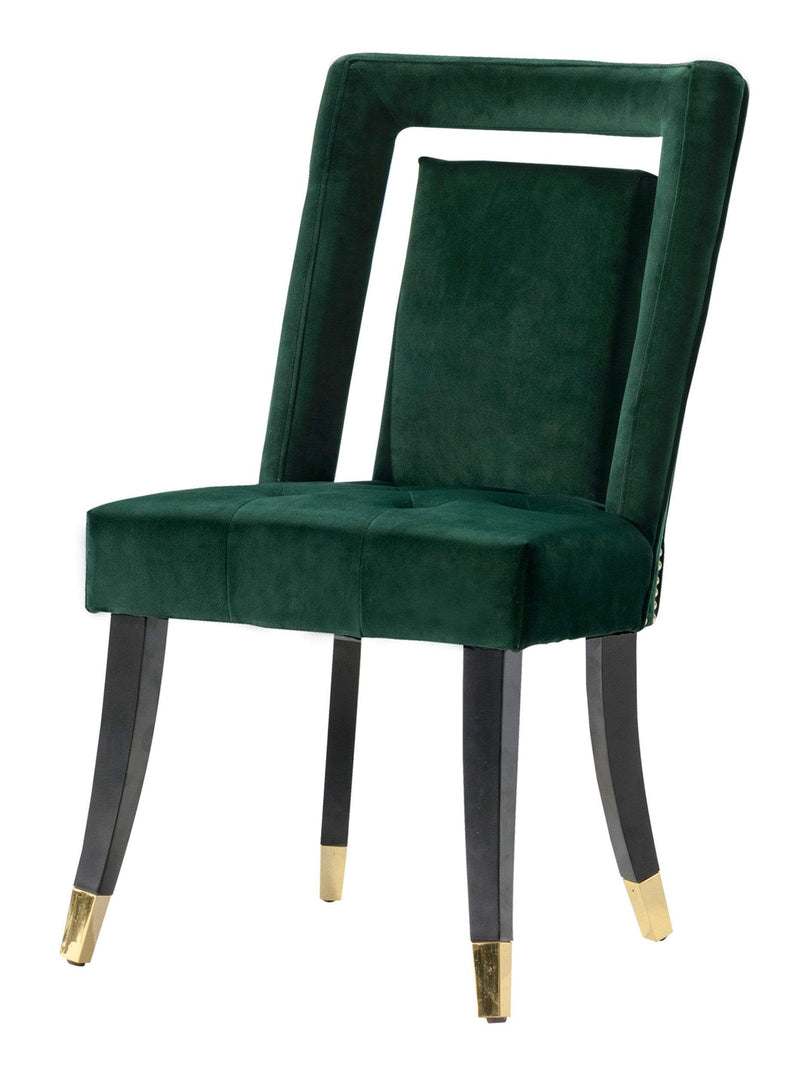 Iconic Home Elsie Dining  Side Chair Velvet Upholstered Seat Gold Espresso Tip Wood Legs Set of 2 - Chic Home Design