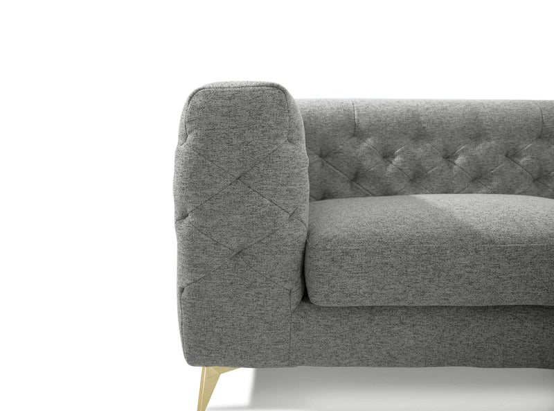 Iconic Home Soho Sofa Linen Textured Upholstery Tufted Shelter Arm Gold Tone Metal Legs - Chic Home Design