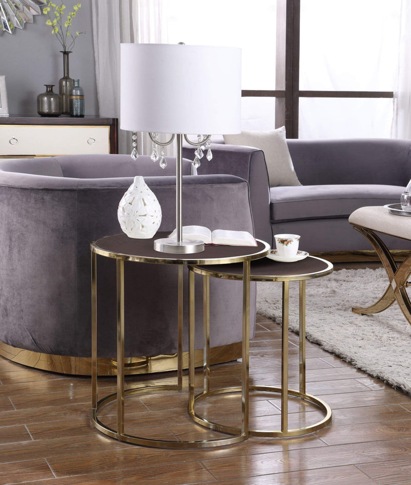 Iconic Home Tuscany Nesting Table 2 Piece PU Leather Top Gibbous Moon Gold Solid Metal Frame - Chic Home Design