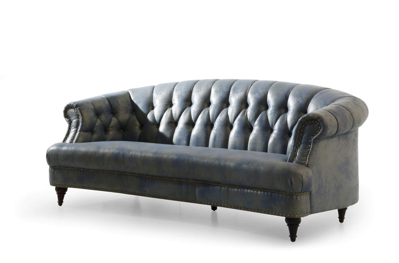 Iconic Home Randalls Sofa PU Leather Upholstered Button Tufted Rolled Arm Carved Wood Legs Blue - Chic Home Design
