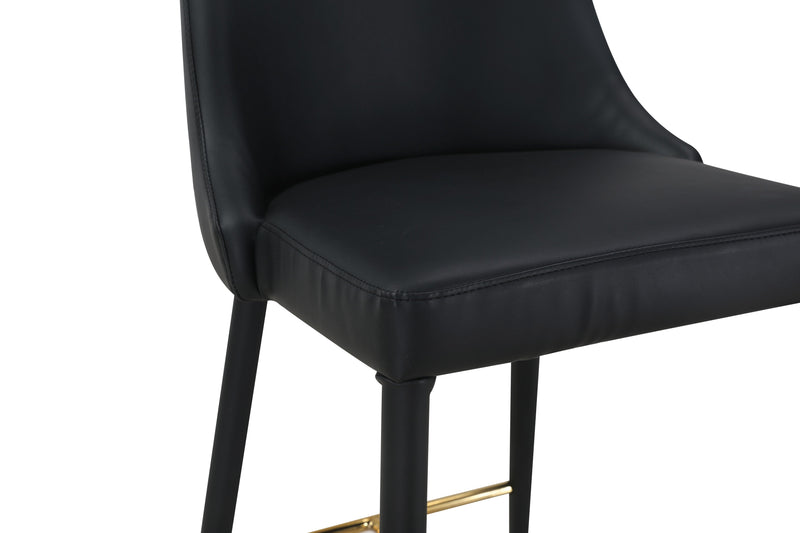 Iconic Home Arwen Counter Stool Chair PU Leather Swoop Arm Seat Gold Metal Base Wood Legs - Chic Home Design