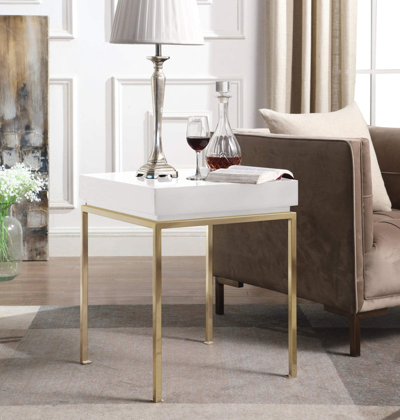 Iconic Home Cannes Side Table Nightstand High Gloss Lacquer Top Gold Plated Solid Metal Legs - Chic Home Design