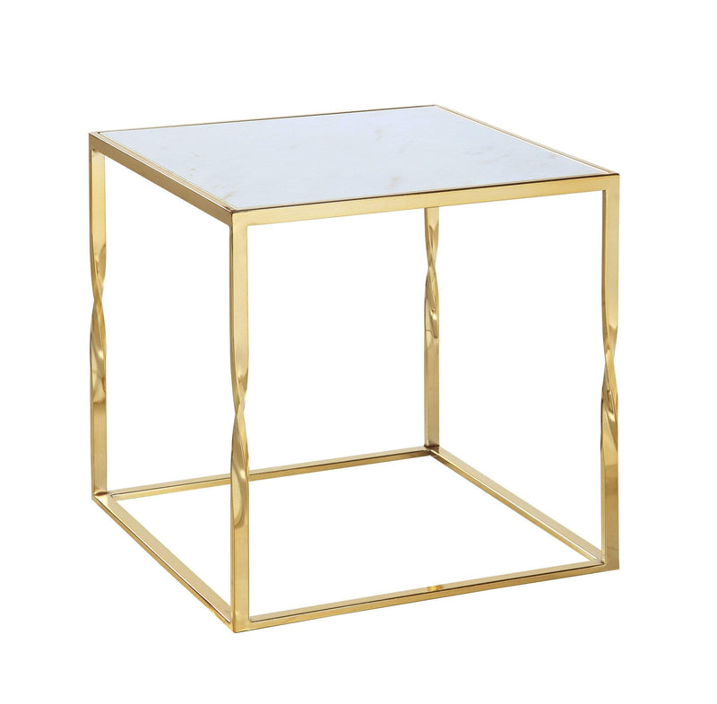 Iconic Home Rialto Side Table Nightstand Gold Finished Solid Metal Cube Frame Marble Look Top - Chic Home Design