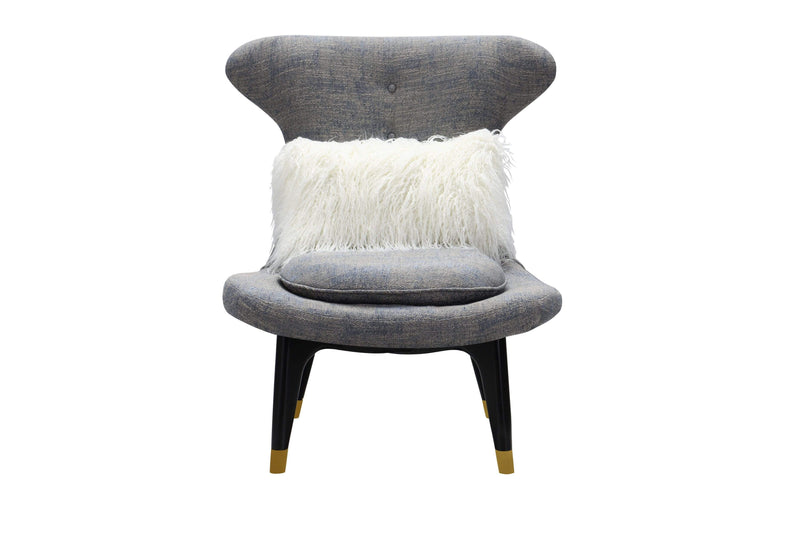 Iconic Home Chateau Accent Chair Two-Tone Textured Fabric Wingback Design Gold Tip Wood Legs - Chic Home Design